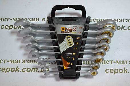 Ключі рожково-накидні з трещіткою Onex ОХ-2065, 8шт, фото 2