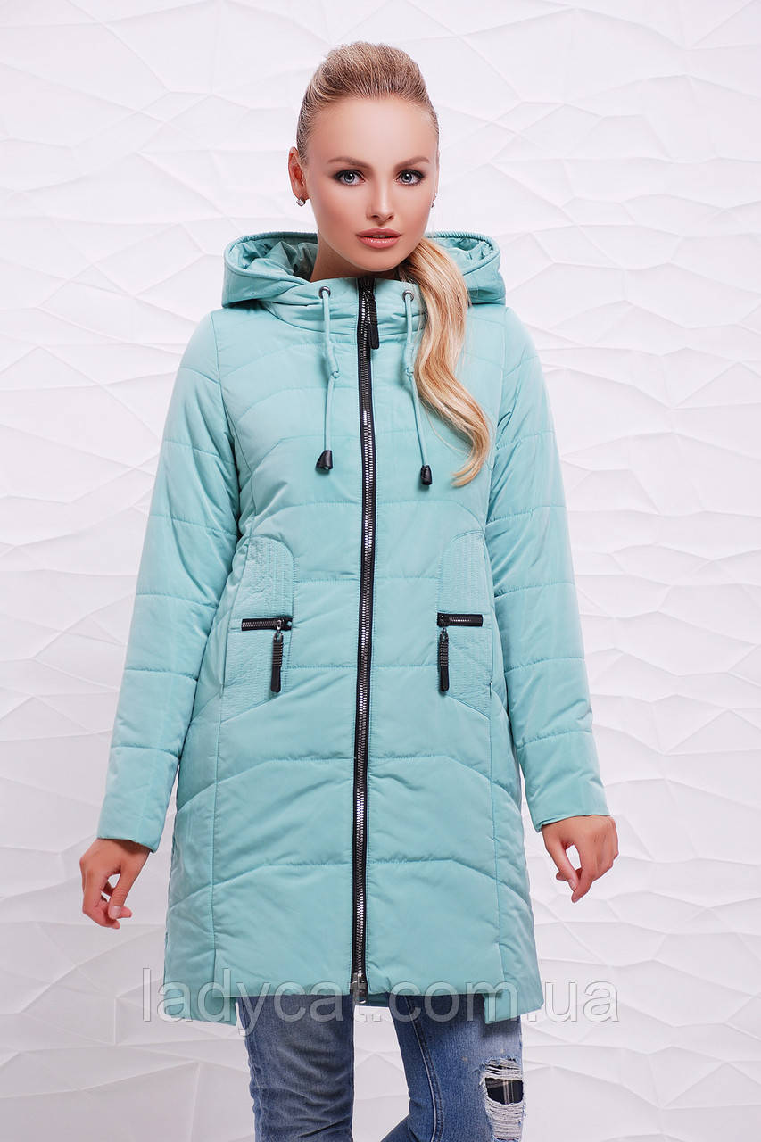 fb2ae7e0de9 Длинная женская демисезонная куртка с капюшоном мятного цвета ...