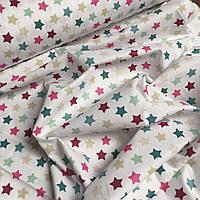 """Ткань для постели Турция """" Разноцветные звезды на белом"""" 240 см  № WH-09"""