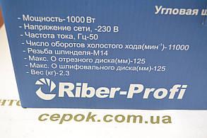 Болгарка Riber-Profi WS 10-125LW з регулятором об., фото 3