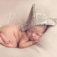 Шапочка для новорожденных для фотосессии Газетка