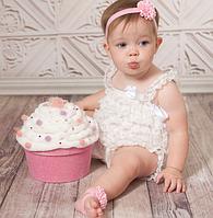 Повязочки для новорожденных на голову и ножки Цветочки белые