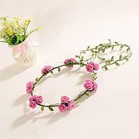 Красивый веночек из цветов Розовые розы
