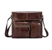 Кожаная сумка для мужчин через плечо коричневая