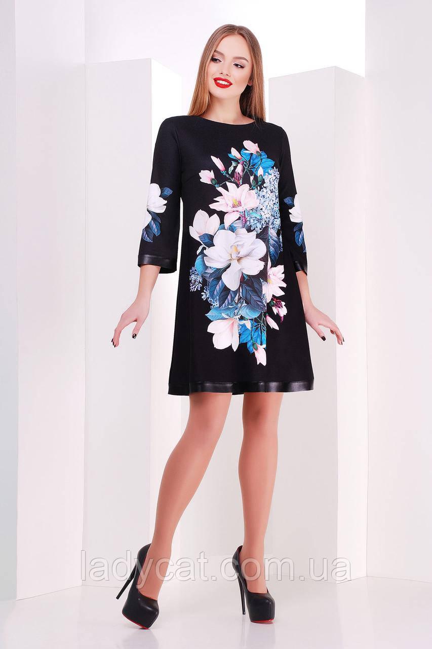 93713d61315 Красивое платье трапеция черного цвета украшеное принтом магнолии ...
