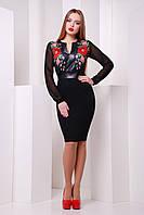 Черное платье с рукавами из шифона и принтом с маками, фото 1