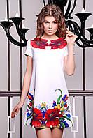 Короткоебелое платье трапецияс маками