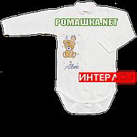Детский боди с длинным рукавом р. 68 демисезонный ткань ИНТЕРЛОК 100% хлопок ТМ Авекс 3149 Бежевый А