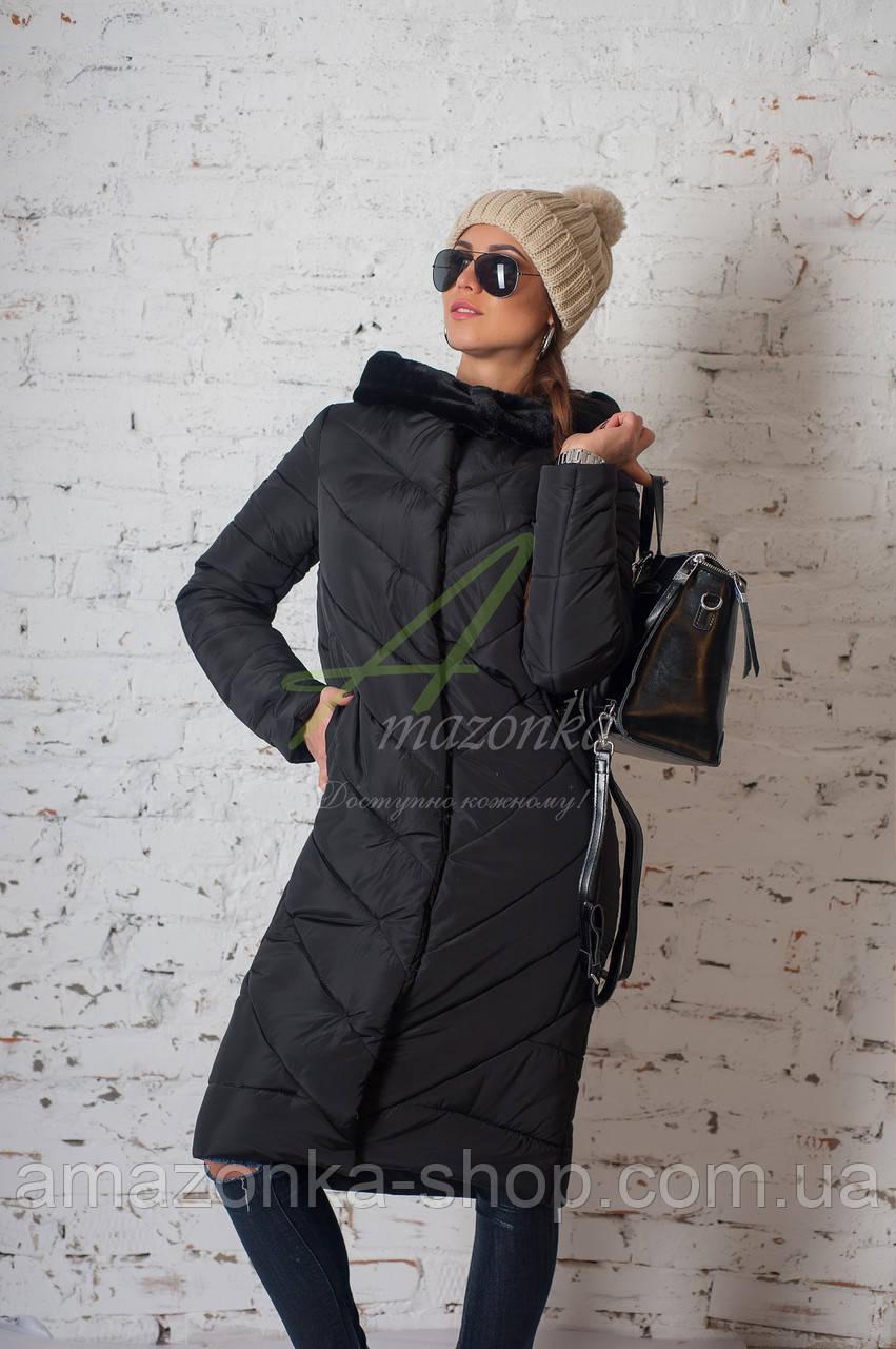 Модное зимнее пальто с мехом для женщин - (модель кт-194)