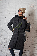 Модное зимнее пальто с мехом для женщин - (модель кт-194), фото 1