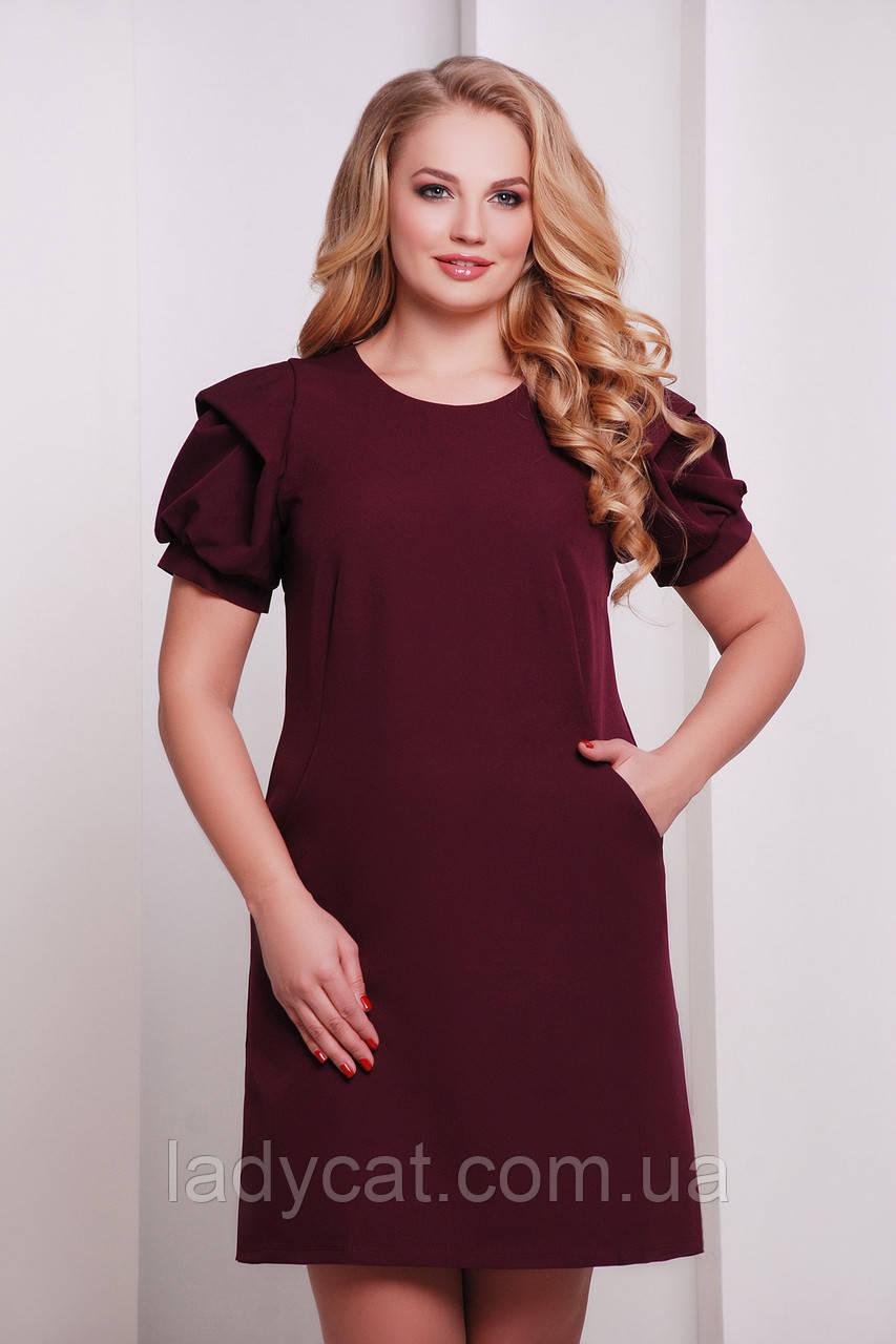Изящное бордовое платье А-силуэта