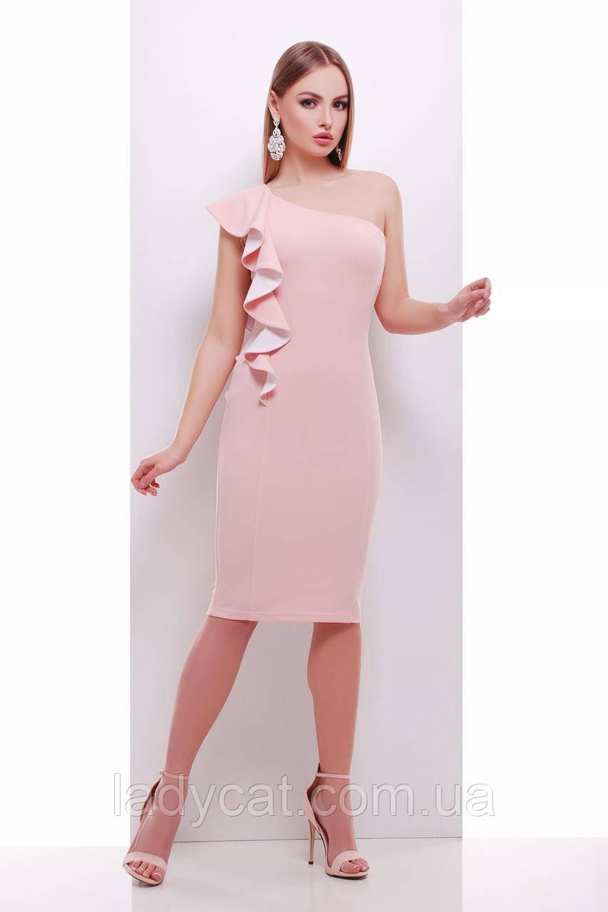 Платье на одно плече персикового цвета
