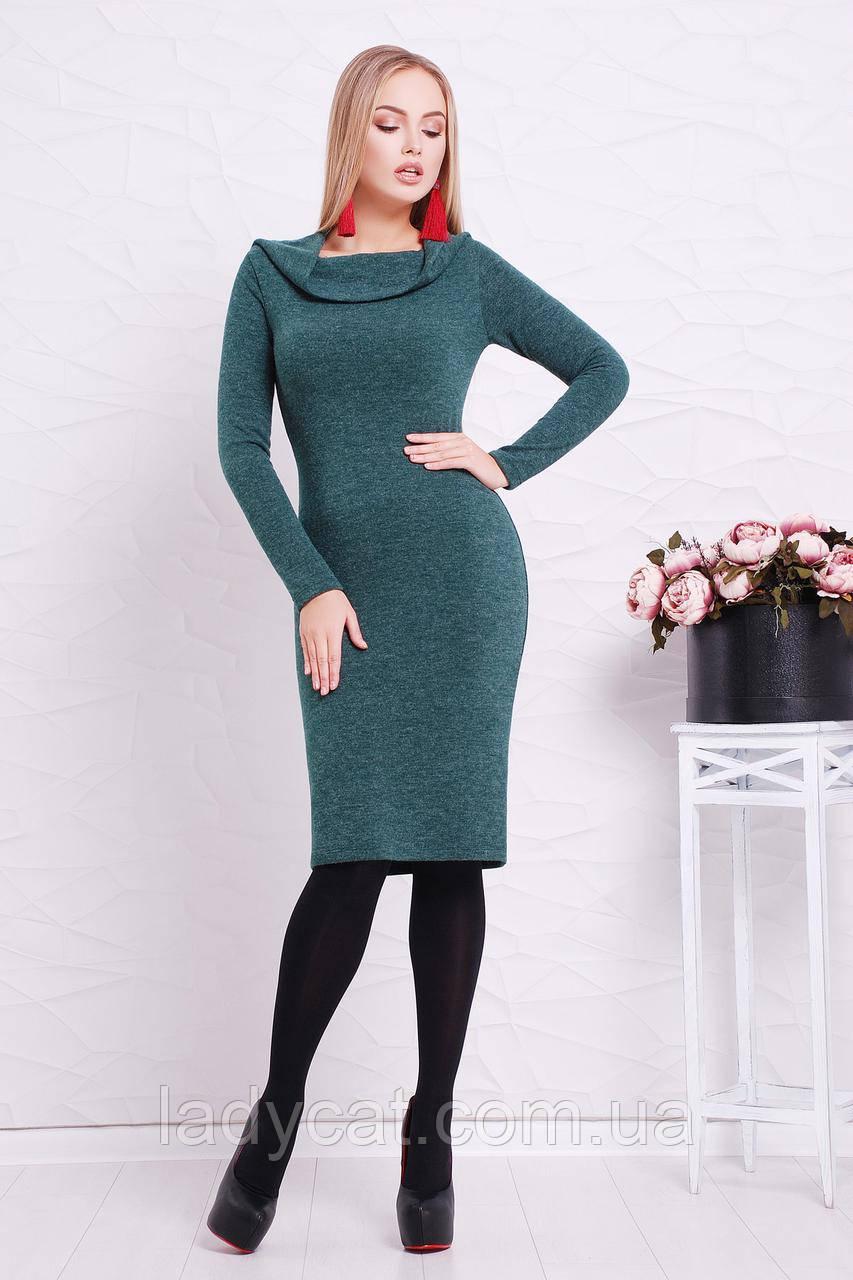 Изумрудное теплое платье с длинным рукавом