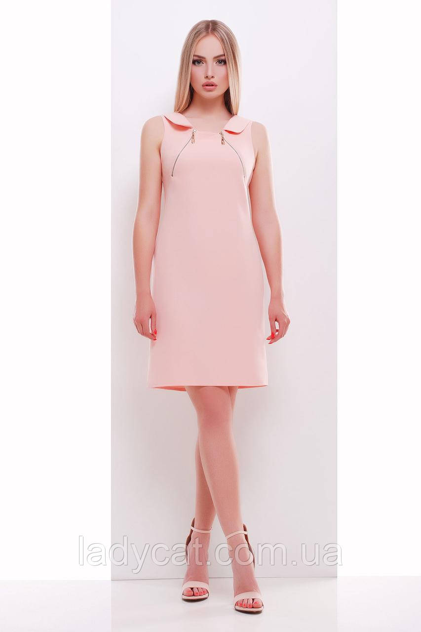 1f05f7c34ce Легкое летнее платье до колен персикового цвета -