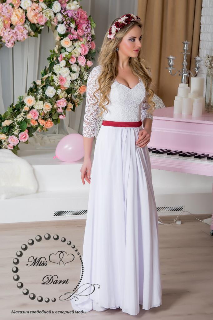 Свадебное платье ампир белое с рукавами со скидкой