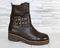 Зимние ботинки с пряжкой на платформе. Натуральная кожа. 1448.1