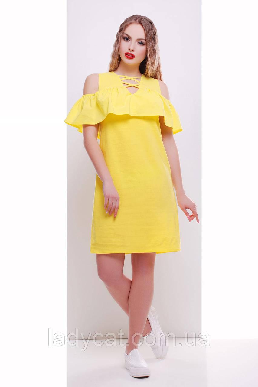 Желтый летний  женский  сарафан с воланом на плечах