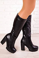 Женские кожаные сапоги на платформе,каблук