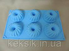 Форма силикон кекс рифленая со стержнем 6 шт
