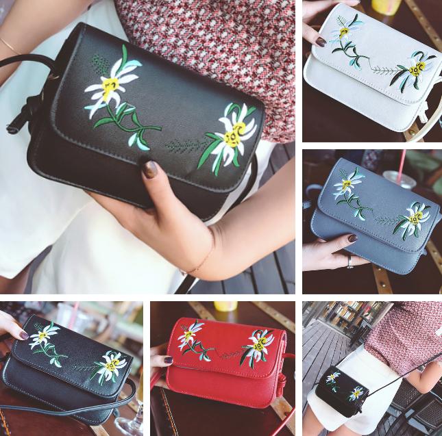 Женская сумка клатч через плечо Вышитые цветы