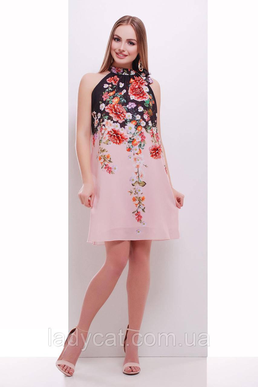 Летний   сарафан расклешенного покроя с цветочным принтом  персикового цвета