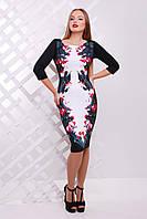 Элегантное женское платье по фигурес красивым принтом