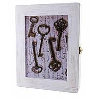 """Ключница """"Ключи""""белая массив дерева 22,5х19,5х5,5 см (30621)"""