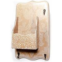 """Ключница вешалка """"Ажур"""", с ящиком, массив дерева 34х20 см (30359)"""
