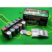 Покерный набор 2 колоды карт +200 фишек 24,5х12х11,5 см вес фишки 4 гр. d-39 мм (18979)