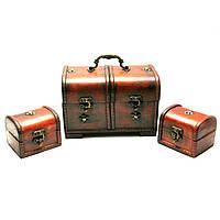Сундучки деревянные набор 3 шт 22х14,5х13/10х8х8 см (26891)