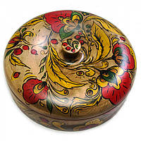 Шкатулка круглая, роспись d - 22см , h - 9см (30430)