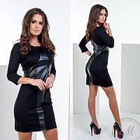 Женское короткое черное платье с кожаными вставками. Ткань: эко-кожа, дайвинг. Размер: см-мл.