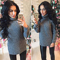 Вязаный женский свитер под горло, серый
