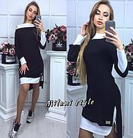 Женское трикотажное платье+ туника ткань ангора черное