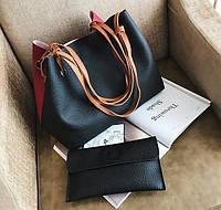 Большая вместительная двухцветная сумка баула с клатчем