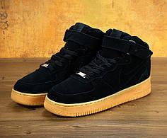 Мужские зимние кроссовки Nike черные с рыжей подошвой топ реплика