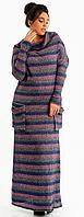 Повседневное теплое женское платье большого размера  +цвета 50-52, Темно-синий+сиреневый