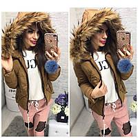 Женская Зимняя куртка короткая с мехом