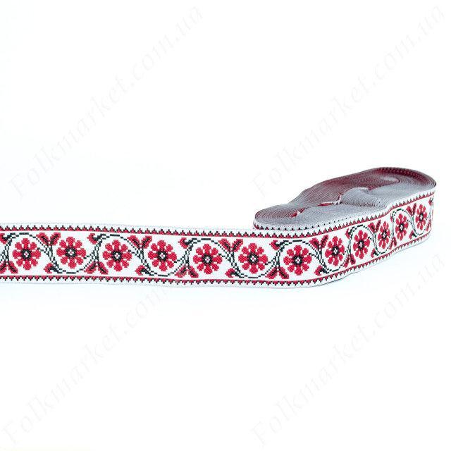 Тесьма с орнаментом красно-черно-белая 30 мм 0830