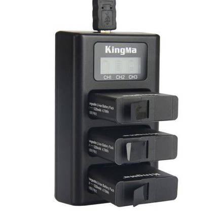 Зарядное устройство для GoPro 5/GoPro 6 на три аккумулятора с LCD дисплеем KingMa, фото 2
