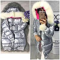 Женская Зимняя куртка серебро с манжетом