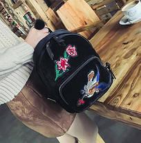 Модные велюровые рюкзаки с нашивкой цветов и птицы, фото 3