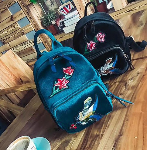 Модные велюровые рюкзаки с нашивкой цветов и птицы