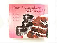 """Набор разъёмных форм для выпечки с антипригарным покрытием из 3-х  """"Сердца"""""""