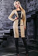 Приталенное замшевое платье с кожаными вставками 44-50 размера, фото 1