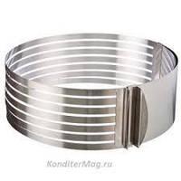 Форма-кольцо для выпечки и нарезки коржей  раздвижная 24-30см