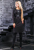 Приталенное трикотажное платье с кожаными вставками и декоративными пуговицами 44-50 размера