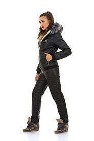 Черный зимний костюм для активного отдыха зимой на синтепоне-200 в размерах S M L