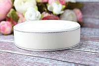 Лента репсовая с люрексом 2.5 см, 25 ярд,  белого цвета с серебром
