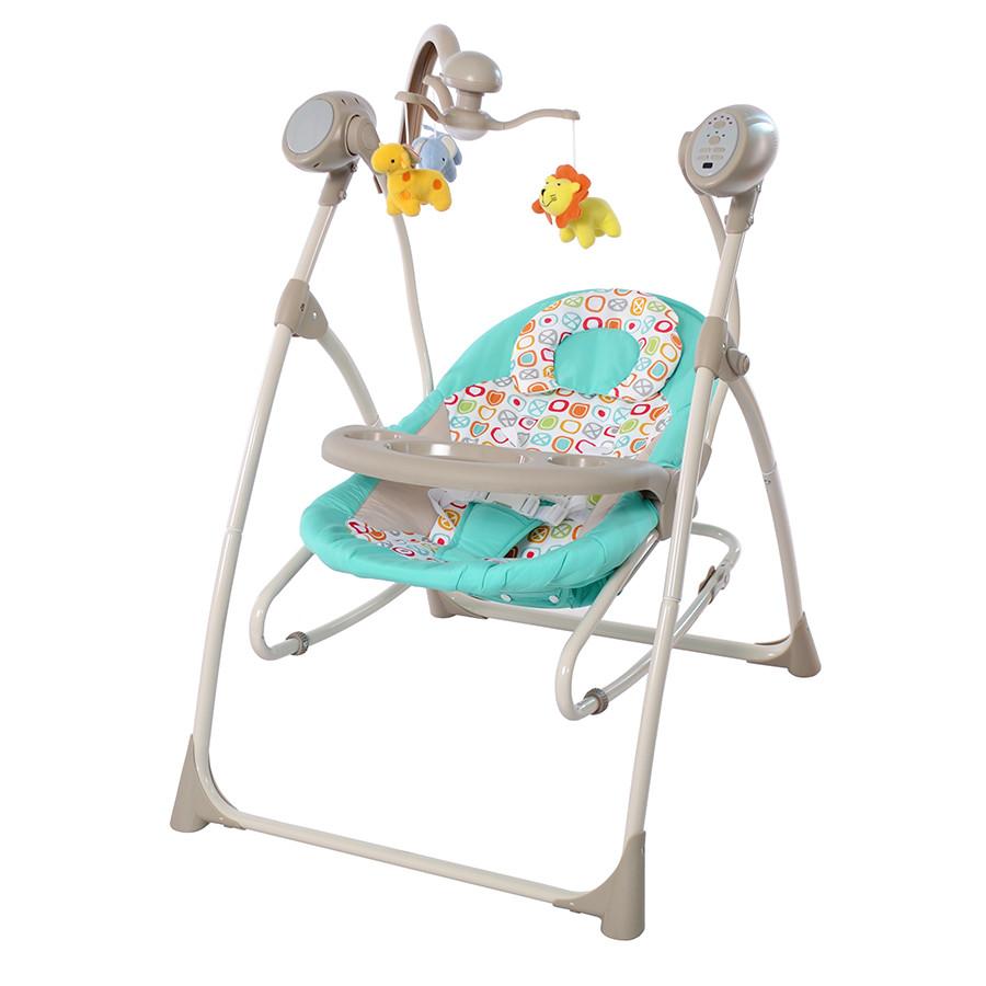 *Детский шезлонг- качалка (колыбель) с пультом Tilly Nanny Turquoise арт. 0005